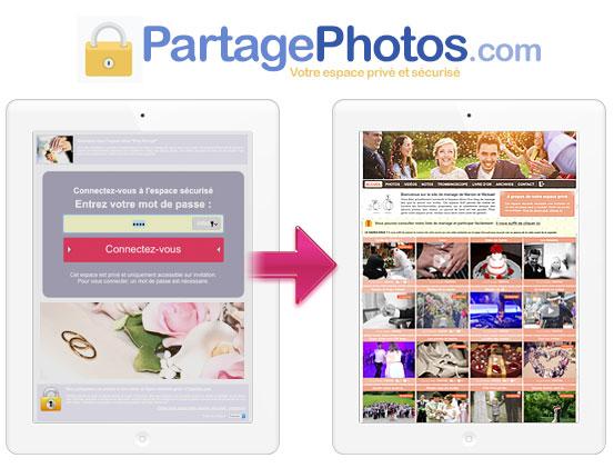 partage photos privé mariage